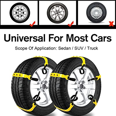 Car Snow Chains Snow Tire Chains for Most Cars Anti-Slip Car Chains Car Emergency Chains All Season Anti-Skid Snow Cables Car Cables SUV Tire Cables (for Tire Width: 185-295mm/7-11''): Automotive