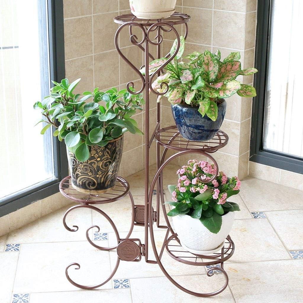 LRW Chocolate Creative Flower Rack Mehrstöckiges platzsparendes Metall-Eisen-Balkon-Wohnzimmer-Boden-vertikales Blumen-Gestell Schöne Atmosphäre