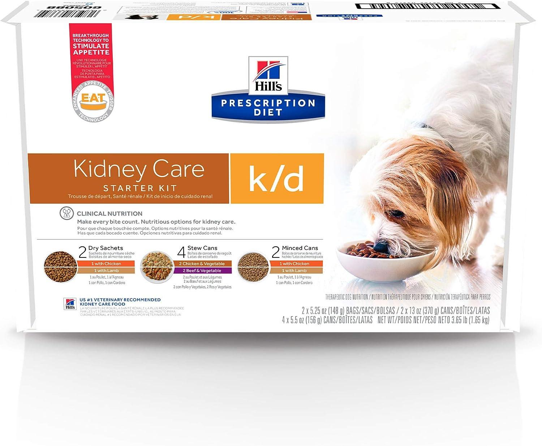Hill's Prescription Diet k/d Kidney Care Starter Kit Variety Pack Dog Food, 5.25 oz. dry food (2), 13 oz can (2), 5.5 oz can (4)