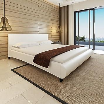 WEILANDEAL Cama de Cuero Artificial Blanca 180 x 200 cm ...