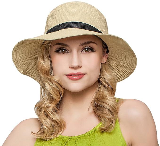 Janrely Women Floppy Sun Beach Straw Hats Wide Brim Packable Summer Cap  (Beige) 5f833637b8