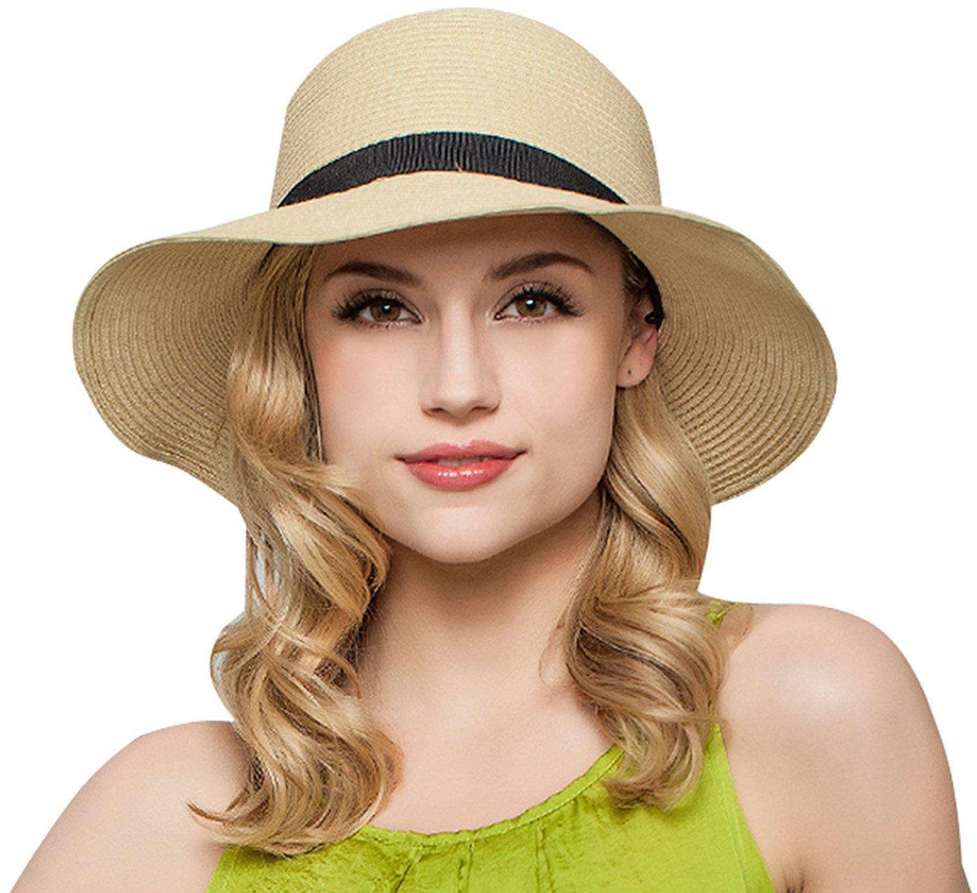 Janrely Women Floppy Sun Beach Straw Hats Wide Brim Packable Summer Cap (Beige)