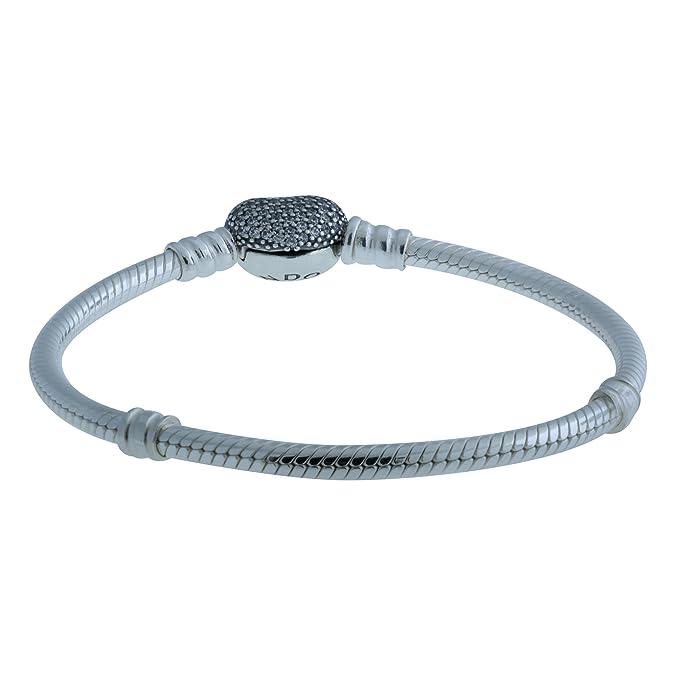 40e3a9a1a Amazon.com: PANDORA 590727CZ-16 Sterling Silver Pave Heart Clasp Bracelet,  6.3 Inch: Jewelry