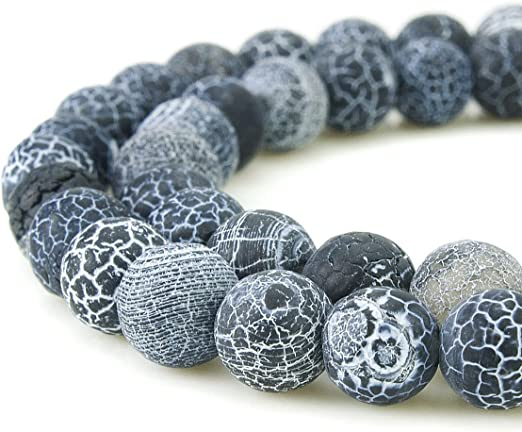 Frosted Cracked Agate Round Beads 8mm Mixed 45 Pcs Gemstones Jewellery Making