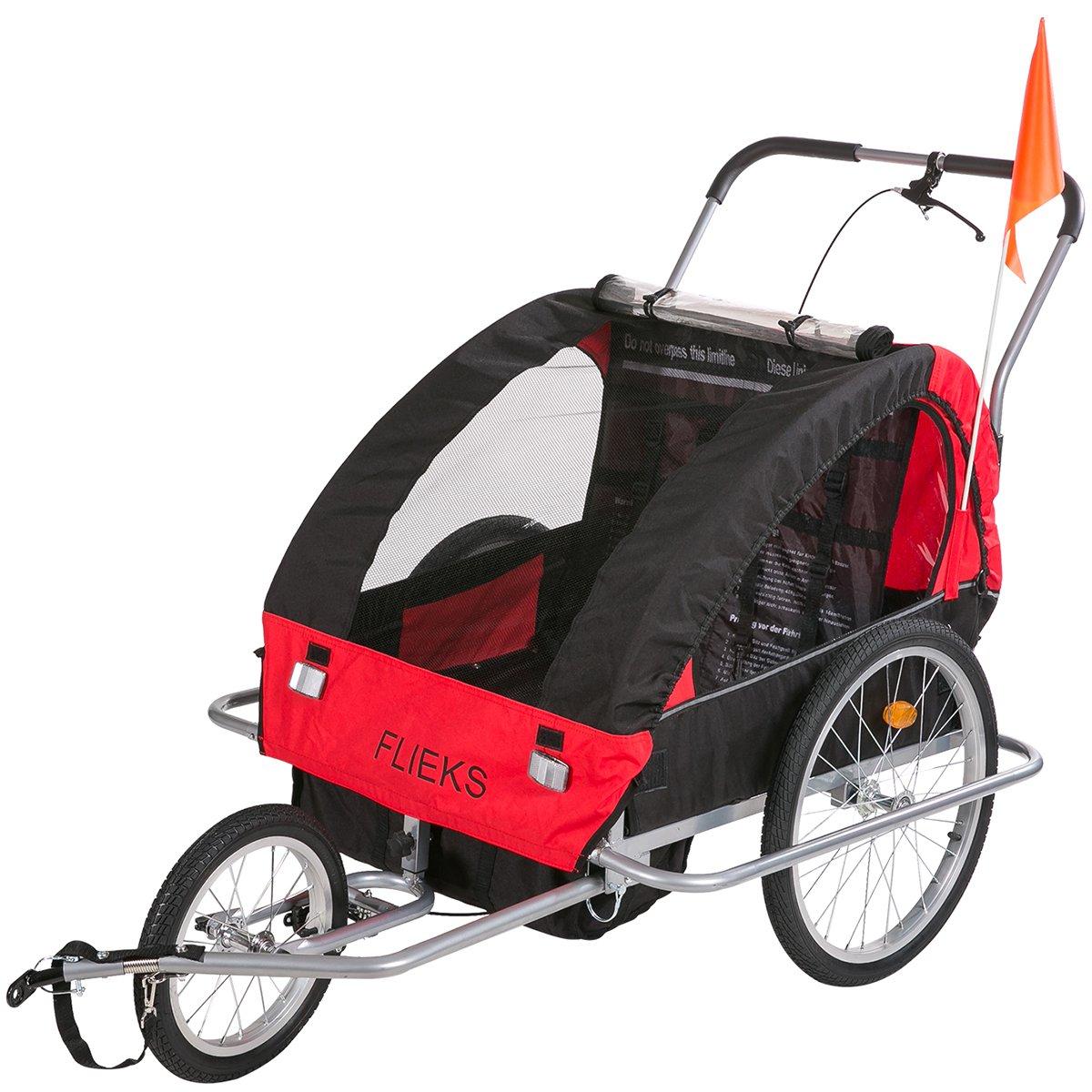Flieks Kinderanhänger 2 in 1 Fahrradanhänger TRAILER Jogger mit Kupplung 3 Farben NEU (Rot)