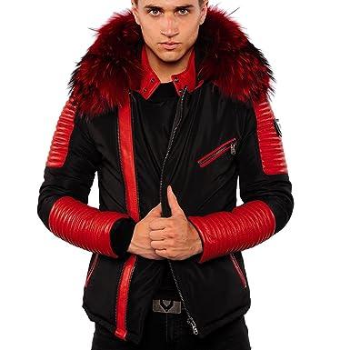 5039fe28398 Ventiuno Ekos Veste Doudoune Bi-matière Rouge Fourrure véritable Rouge  Taille Max - Cuir d