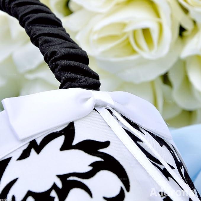 GB25d Black White Flocking Wedding Ceremony Florish Wedding Flower Girl Basket