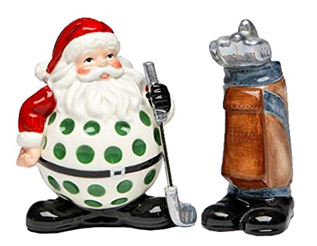 Appletree Design Golf Santa with Bag Salt and Pepper Collection, 3-5/8-Inch Salt & Pepper Shakers at amazon