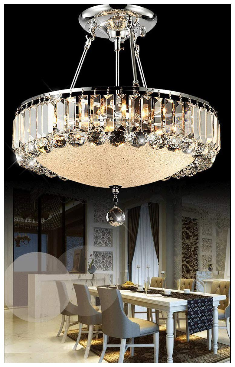 Dst Luxury Round Clearing Crystal Droplets Flush Mount LED Chandelier Ceiling Light Fixture Pendant Lamp for Dining Room Bedroom Livingroom NF