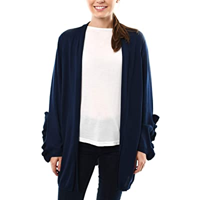 Fever Long Cardigan Sweater with Ruffle Sleeve Detail at Women's Clothing store