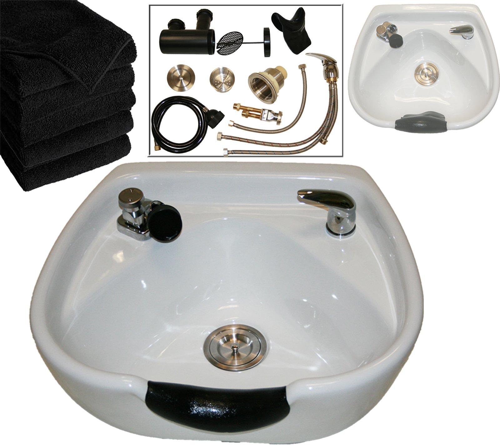 LCL Beauty Heart Shaped Heavy Duty CERAMIC Professional White Shampoo Bowl w/ Vacuum Breaker & 6 Black Absorbent Salon Quality Towels