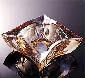 OP Cigarette Ashtray Crystal Glass Ashtray, Dual-use,for Patio/Outside/Indoor/Home Decor,Office Tabletop Beautiful Decoration Craft. Smoking Ash Tray (Color : Gold)