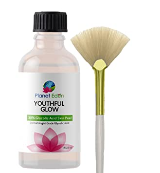Youthful Glow 30% Glycolic Acid Skin Peel with Free Fan Brush for Sun  Damage, Freckles, More Even