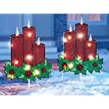 Lighted Christmas Candle Garden Stakes - Set of 2