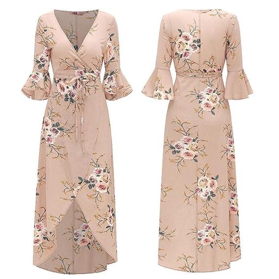 ❤ Vestido Largo Vestido para Mujer, Vestido Largo de Manga Corta con Estampado de Flores de Media Manga de Manga Larga para Mujer Absolute: Amazon.es: ...