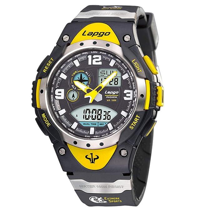 Đồng hồ đeo tay nam PASNEW, Đồng hồ kỹ thuật số tương tự kép Thời gian chống nước Thể thao Đồng hồ đeo tay trẻ em 1018ad Vàng