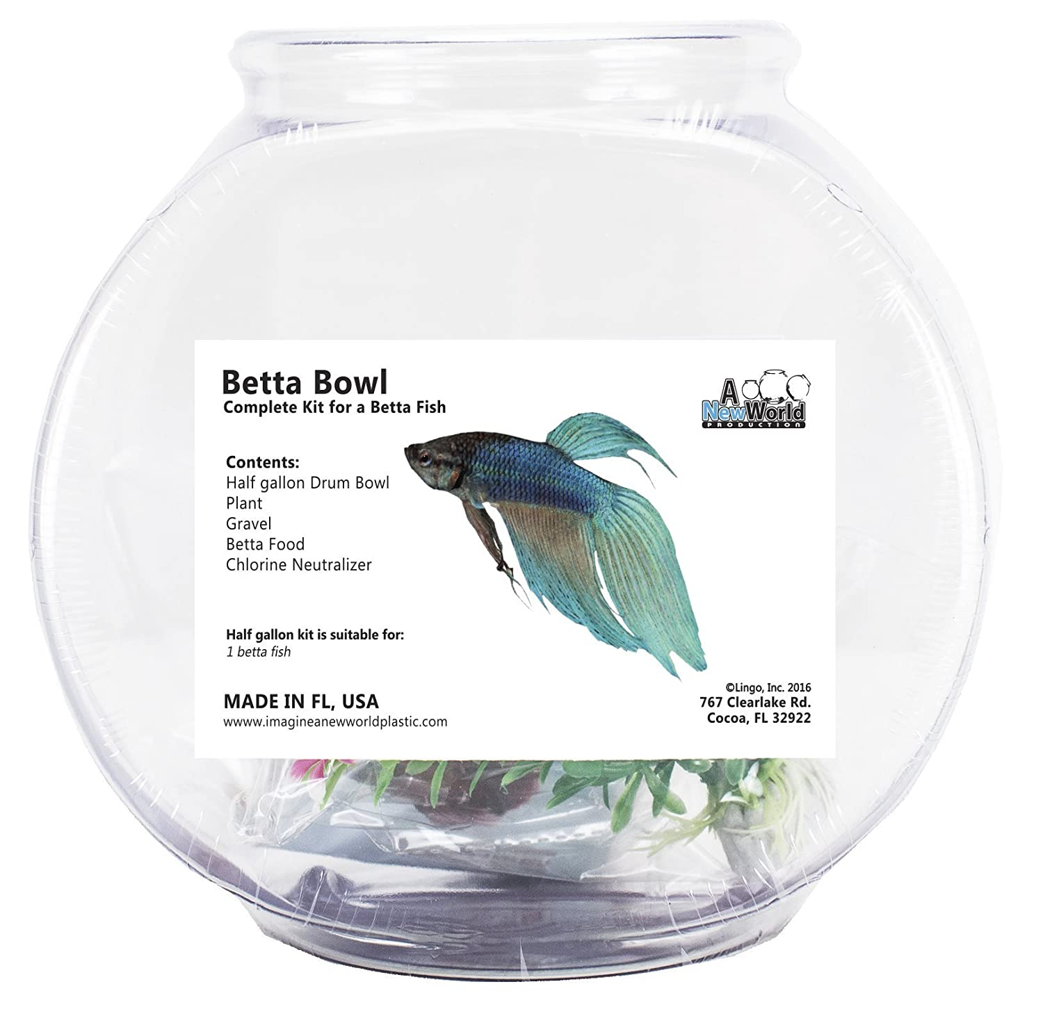 Tooters Promotions Betta Fish Bowl Starter Kit
