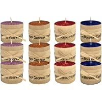 Lacaser Natural Beeswax Candles Short Pillar Candle Bulk Set of 12, Dripless & Smokeless & Unscented, 4 Colors Available…