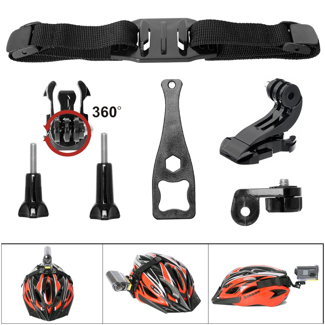 Victool Action Camera 360 Degree 7in1 Vented Helmet Strap Mount Kit for GoPro Helmet Mount for SONY FDR X-3000V X1000VR HDR AS 300 AS-10 AS-15 AS-20 AS-30 AS-50 AS-100 AS-200 AZ-1 + GoPro Action Cam