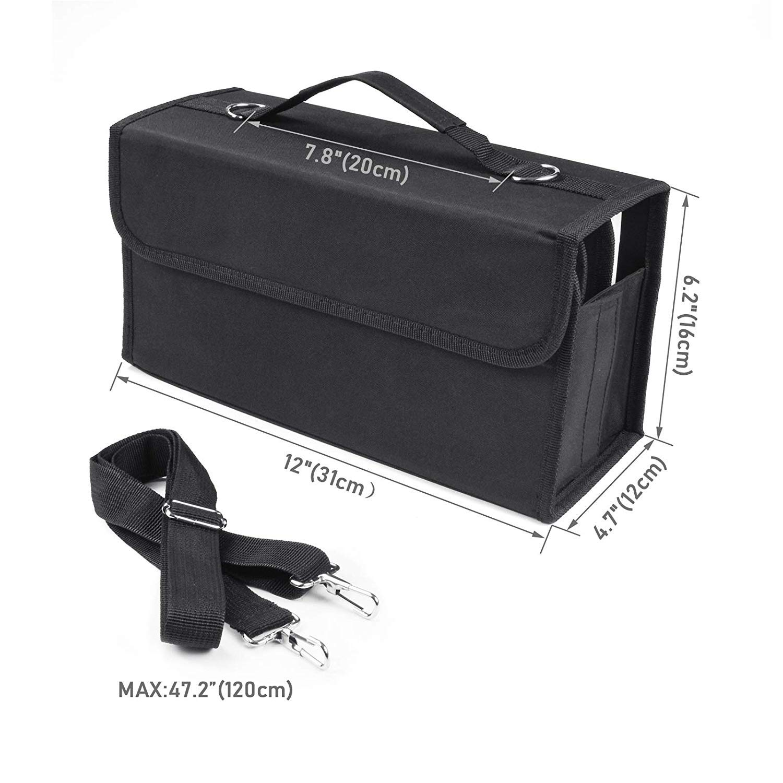 80 Slots Marker Pen Case, Large Capacity Folding, Extendable Foldable Hook, Marker Carrying Bag, Art Markers Pen Storage Durable Sketch Tools Organizer for Permanent Paint Marker (Black)