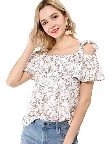 f1afde7a3c3a Allegra K Women's Ruffle Overlay Strap Open Shoulder Summer Floral Blouse  White XS (US 2