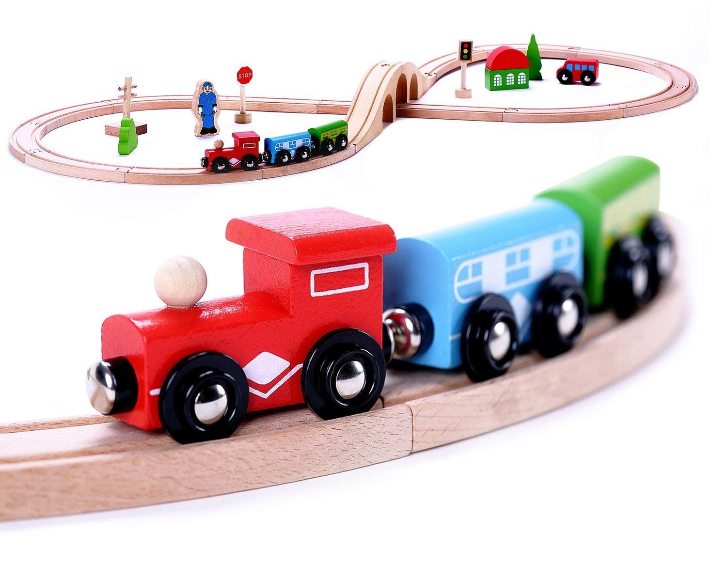 Cubbie Lee Premium Wooden Train Set Toy Double-Sided Train Tracks, Magnetic Trains Cars & Accessories for 3 Year Olds and Up - Compatible w/ Thomas Tank Engine and Other Major Brands
