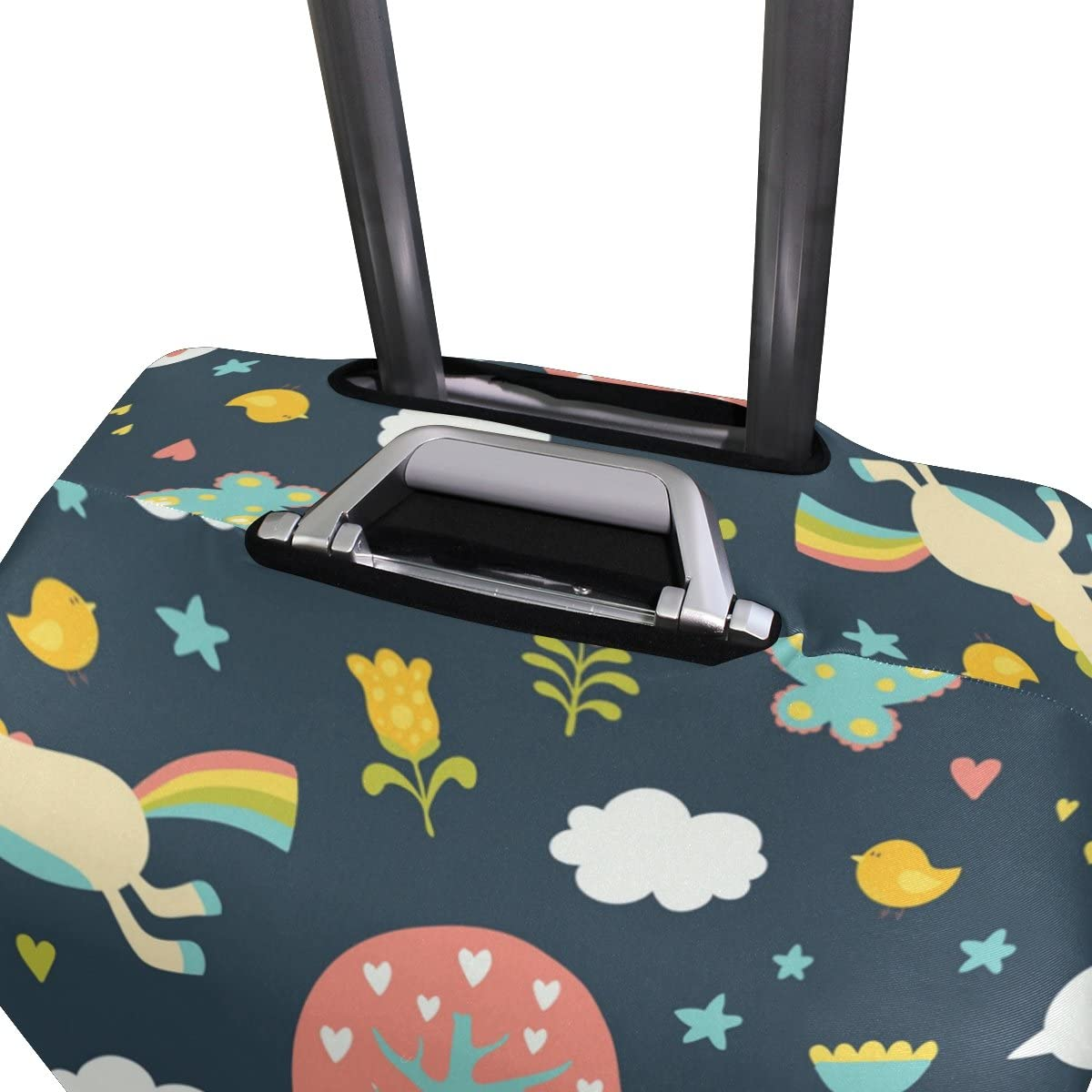 OREZI Luggage Protector Cute Unicorn Love Tree Travel Luggage Elastic Cover Suitcase Washable and Durable Anti-Scratch Stretchy Case Cover Fits 18-32 Inches