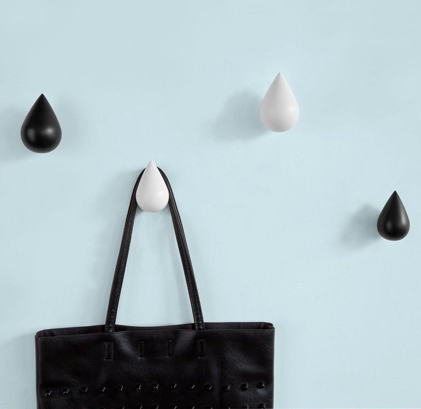 in legno confezione da 4 pezzi Grey decorazione ganci da parete 3D a forma di goccia Franchen appendiabiti per cappotti
