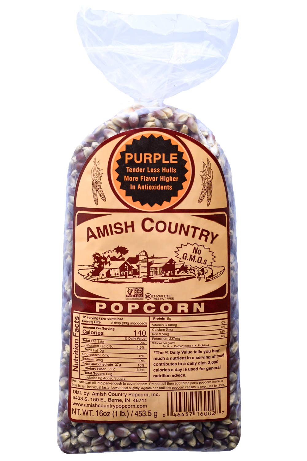 Amish Country Popcorn - Purple Kernels (1 Pound Bag) With Recipe Guide - Old Fashioned, Non GMO, and Gluten Free by Amish Country Popcorn