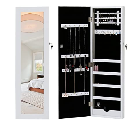 Peach Tree White Wall Door Mount Locking Mirrored Jewelry Armoire Makeup  Cabinet Wooden