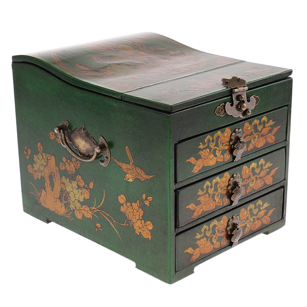 MonkeyJack Vintage Retro Wooden Chest Home Keepsake Decor Woman Make Up Dresser for Jewelry Storage - Green, as described