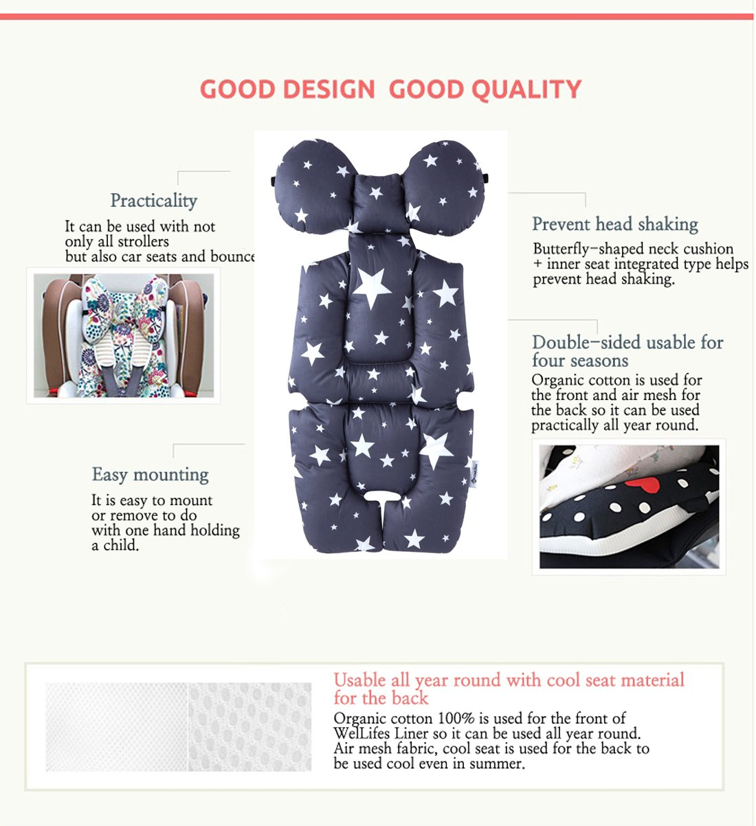 Baby Breathable 3-Dimensional Air Mesh Organic Cotton Seat Pad Liner for Stroller & Car Seat Dark Grey by WelLifes (Image #4)