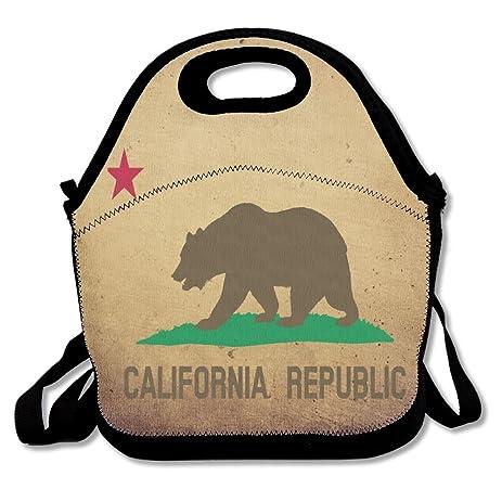Clipart Flag Of California Star Bear Portable Lunch Box Bag Insulated Waterproof Fashionable Storage Handbag For