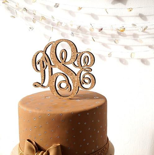 Rustic Monogram Cake Topper Wedding Personalize Custom Cork And Wood