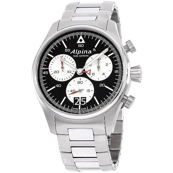 Reloj de cuarzo Alpina Startimer Pilot Chronograph Big Date, Negro, Brazalete: Alpina: Amazon.es: Relojes