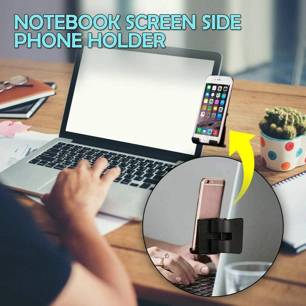 Clip de Soporte para teléfono Lateral con Pantalla de portátil en el Monitor para computadora portátil o Monitor de Escritorio