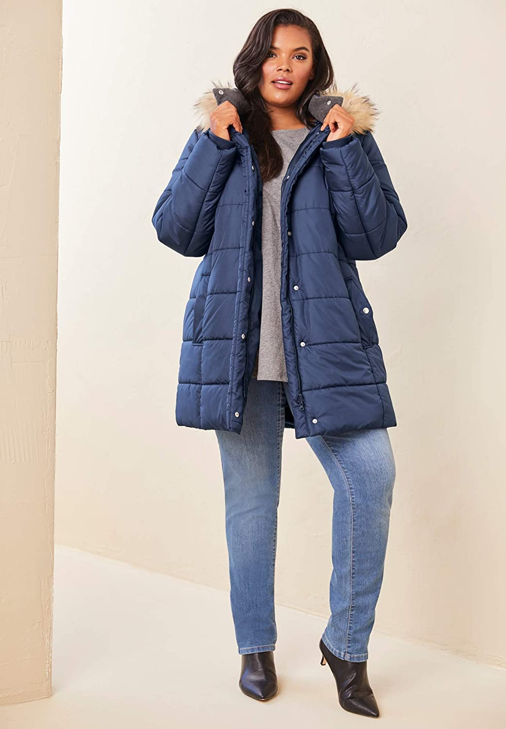 Roamans Womens Plus Size Classic-Length Quilted Parka with Hood