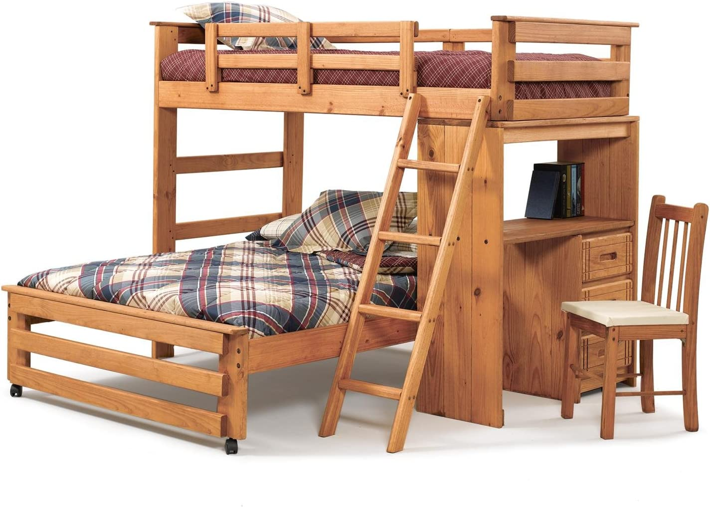 Twin Over Full L Shaped Bunk Bed With Desk End Amazon Co Uk Kitchen Home