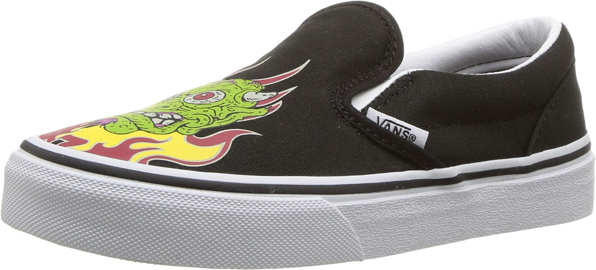 Vans Kids Boy's Classic Slip-On (Little Kid/Big Kid) (Demon Trolls) Black/True White 7 M US Big Kid