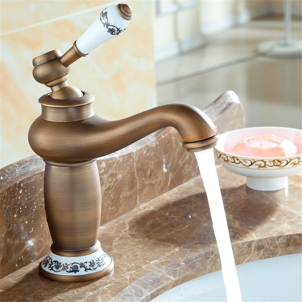 MEIBATH Waschtischarmatur Badezimmer Waschbecken Wasserhahn Küchenarmaturen Messing antik Retro warmes und Kaltes Wasser, gebürstet Küchen Wasserhahn Badarmatur