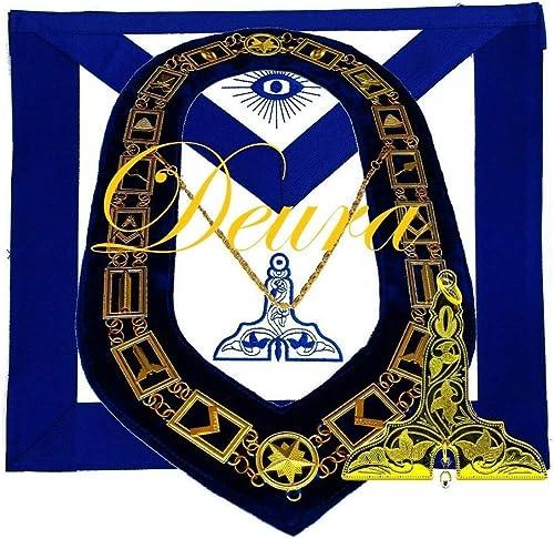 Masonic Mason WORSHIPFUL MASTER GOLD Jewel Collar and EMBROIDERED Apron