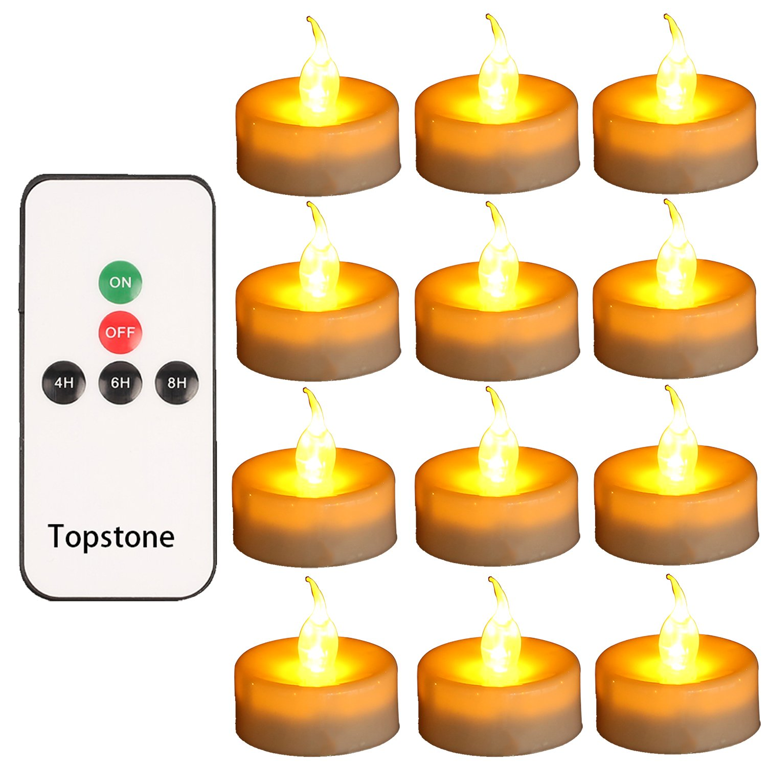 Topstone Tealight Candles with Flickering Amber Led Bulb and Timer,Remote Control,Electric Fake Candle Battery Powered Flameless Candles,Pack of 18