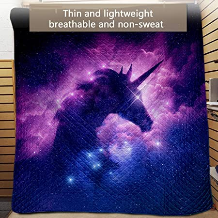 Blessliving Printed Bedspread /& Coverlet Sets Galaxy Unicorn Coverlet for Twin 168x228//50x75 Beds 3 Piece Bed Spreads Purple and Blue Space Quilted Bedding Set and 2 Pillow Cases