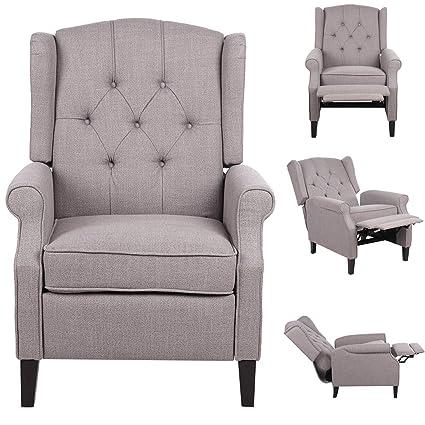 Brilliant Single Recliner Chair Reclining Sofa Fabric Home Office Tv Mid Century Modern Living Room Chaise Lounge Chair Us Stock Frankydiablos Diy Chair Ideas Frankydiabloscom