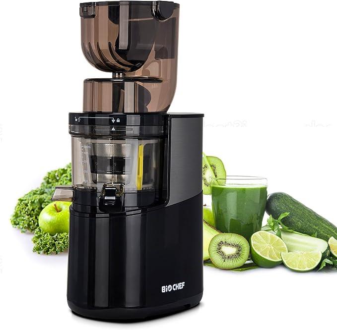 Bio Chef Atlas Whole Slow Juicer Pro – Extractor de zumos, 350W, 40 RPM, licuadora prensado en frío. Garantía de por Vida en el Motor. (Negro)