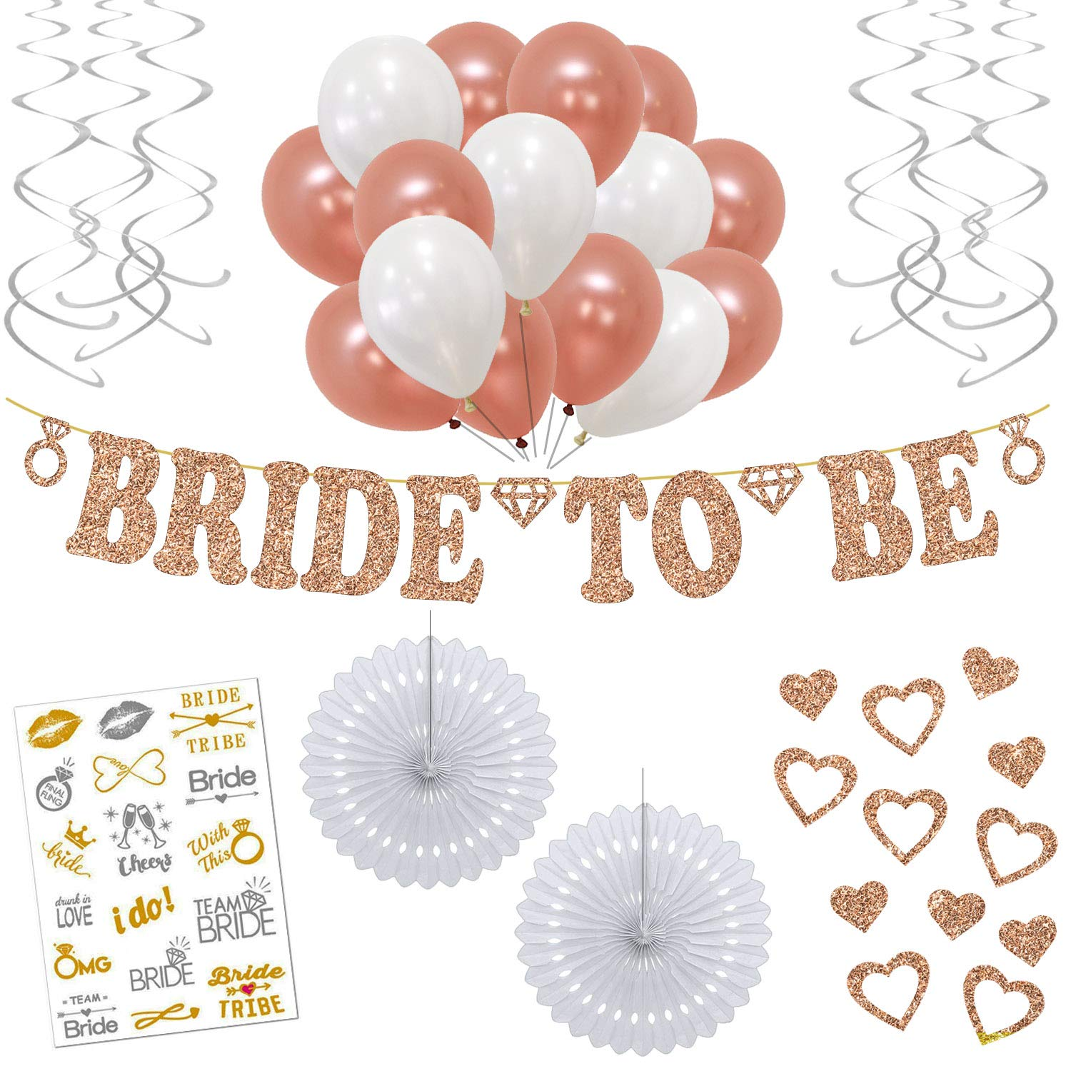 Rose Gold Bachelorette Party Decorations - 55 Piece Decoration Set with Real Rose Gold Glitter Bride to Be Banner, Rose Gold & White Balloons, Bridal Tattoos and Other Bridal & Wedding Shower Supplies