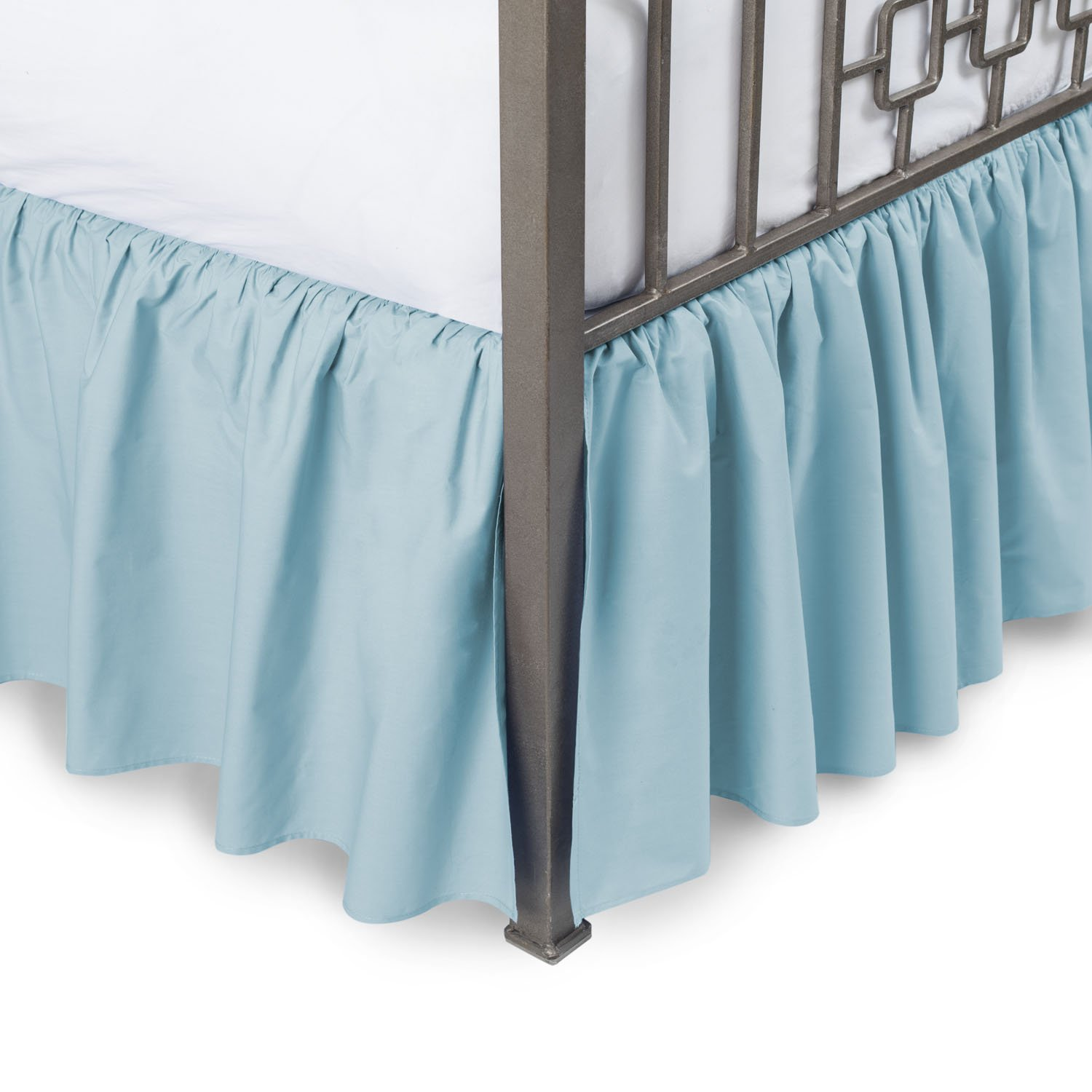 Harmony Lane Ruffled Bed Skirt with Split Corners - Queen, Porcelain Blue, 18 Inch Drop Bedskirt (Available in and 16 Colors)