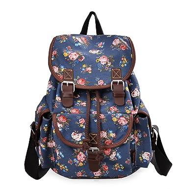 Amazon.com: Epokris Blue Flower Backpack for Girls School Backpack ...