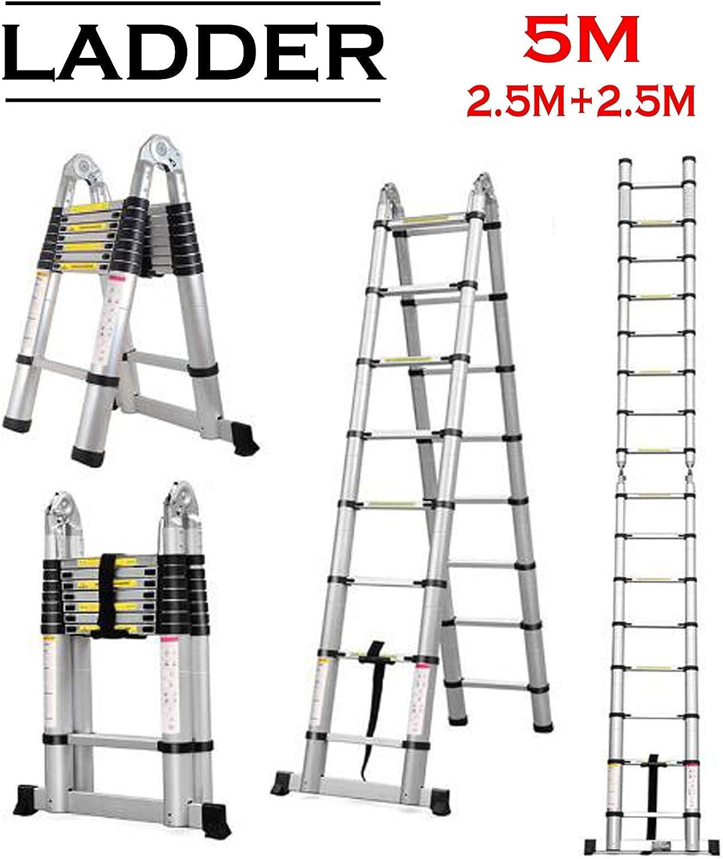 Escalera telescópica de aluminio de 5 m, multiusos, portátil, escalera telescópica de 8,2 pies + 8,2 pies, combinación plegable, escalera resistente y extensible: Amazon.es: Bricolaje y herramientas