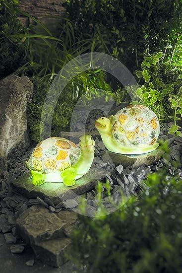 LED Solar Leuchte Deko Garten Dekoration Schildkröte Schnecke 2er Set  Liebevoll Detailliert Leuchtend Gestaltet